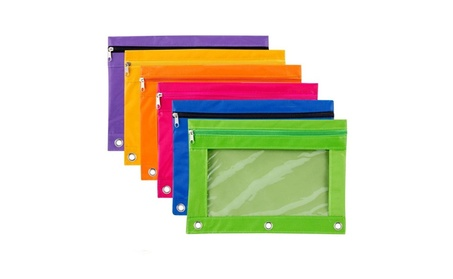 6 Pieces Binder Pencil Pouch with Zipper Pulls 3-Ring