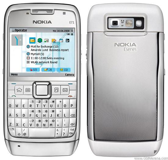 Nokia E71 White Steel (gambar dari GSM Arena)