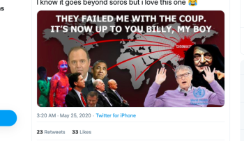 A right-wing meme on Twitter positioning George Soros as the originator of a coronavirus world conspiracy involving Bill Gates, James Comey, Rep Adam Schiff and others