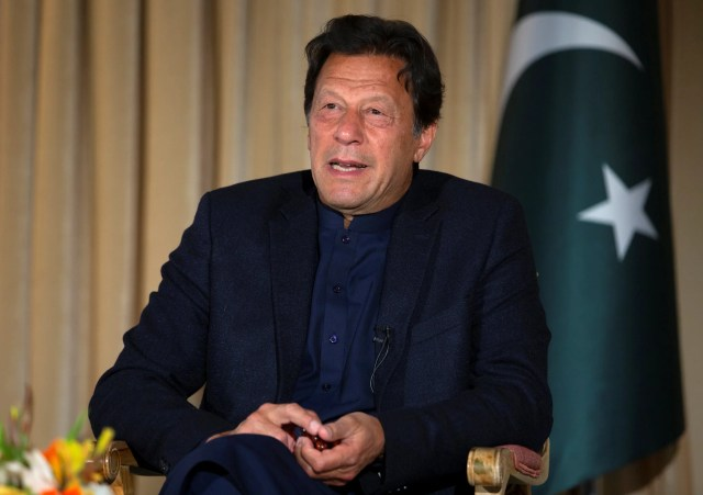 Pakistan's Prime Minister Imran Khan gives an interview to The Associated Press, in Islamabad, Pakistan. March 16, 2020