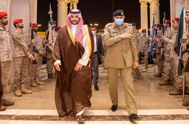 Pakistan's Army Chief of Staff General Qamar Javed Bajwa is welcomed by Saudi Arabia's Deputy Defense Minister Prince Khalid bin Salman, in Riyadh, Saudi Arabia. August 17, 2020