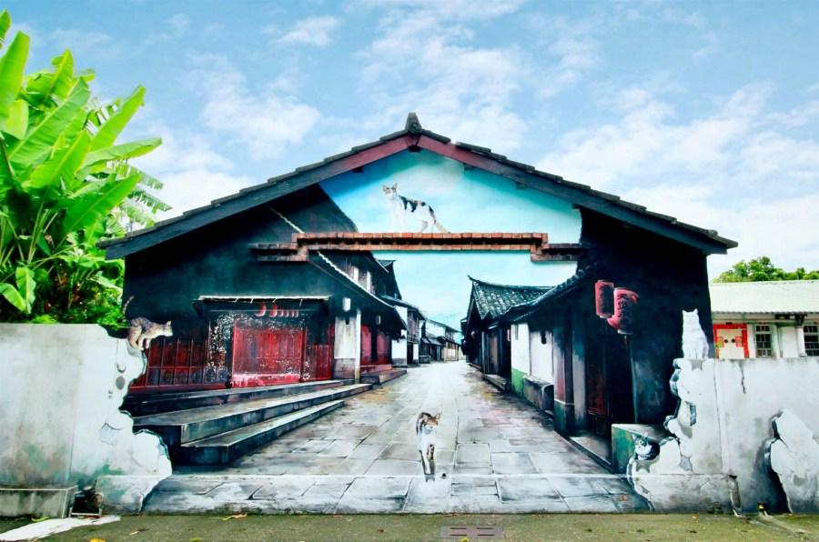嘉義旅遊景點/民雄貓咪彩繪村/菁埔彩繪村,超精緻畫風又可愛的小貓村來了