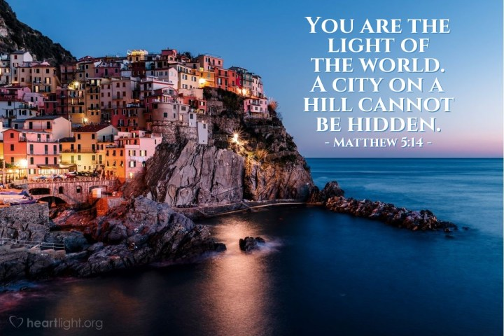 Illustration of Matthew 5:14 — You are the light of the world. A city on a hill cannot be hidden.