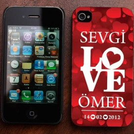 Love Desenli iPhone 4-4s Kabı