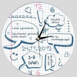 Öğretmene Hediye Baskılı Duvar Saati