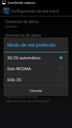 Seleccione Sólo GSM / Sólo 2G para habilitar 2G