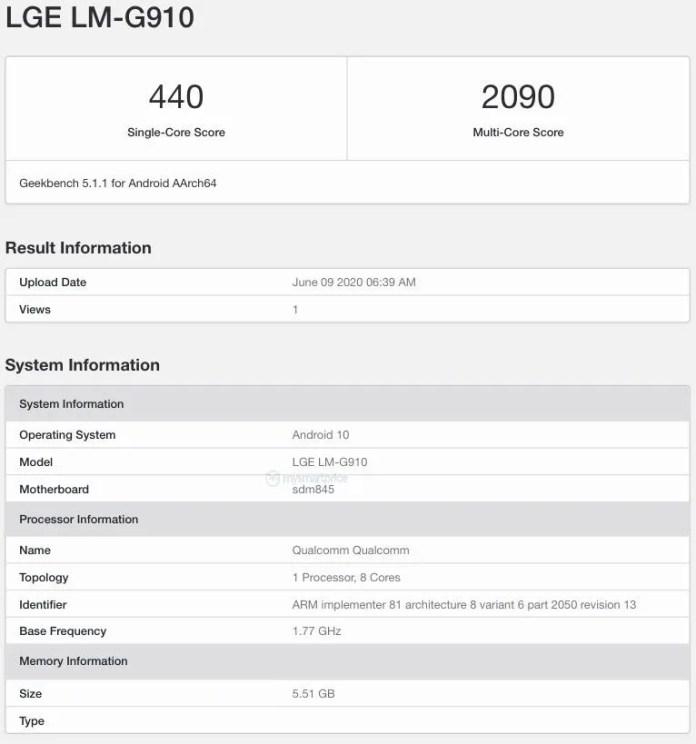 LG Velvet 4g LGE LM-G910 listed on geekbench specs leaked Snapdragon 845 6gb ram