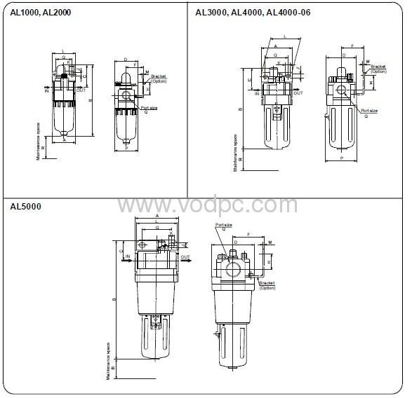 al1000,al2000,al3000,al4000,al5000 micro oil lubricators
