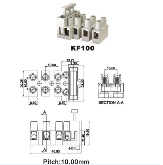 Fuse terminal block 6.3 A from China manufacturer