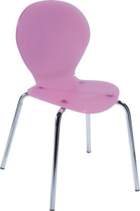 Pink Chromed Base Baby side Chair ergonomic dining seating ...