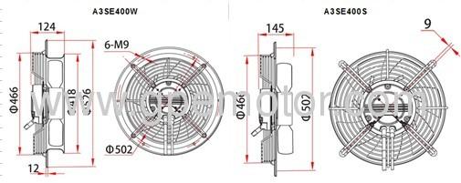 Erp 2015 compliant 230V EC Axial flow Fan 400mm low noise
