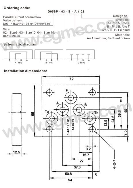 D05, SB10B Rexroth Valve BSPP Or NPT Porting Connection