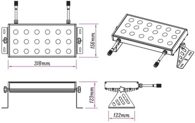 50W DMX LED RGBW Wall Washer with UL External LED Driver
