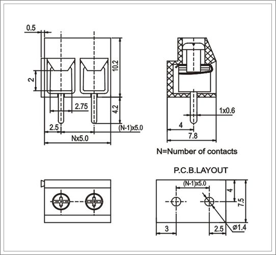 5 Pole 5.0mm Screw Terminal Block from China manufacturer