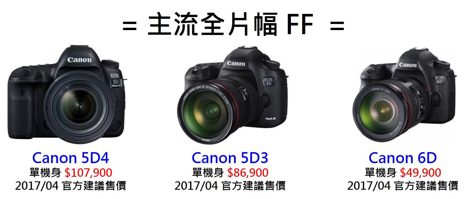 Canon 相機推薦 全系列機種比較整理 & 採購指南 , Canon 5D4 至 EOS M6 全比較