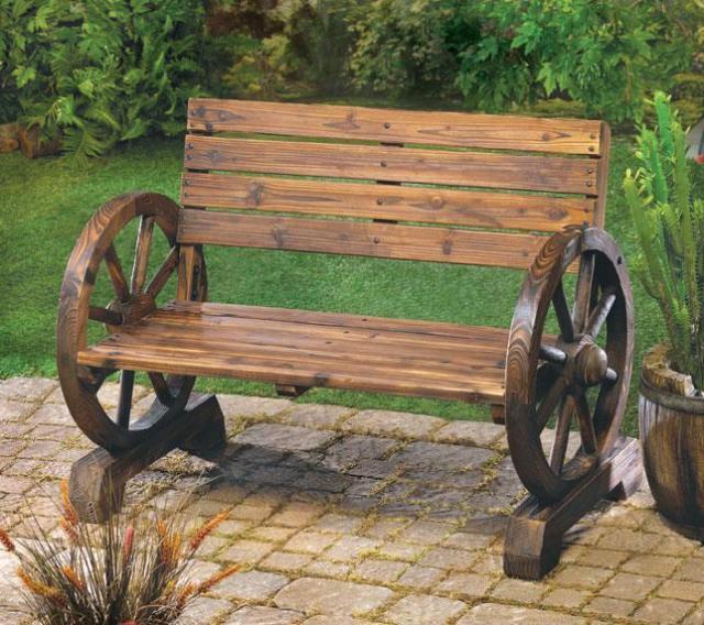 The Rustic Wagon Wheel Garden Bench