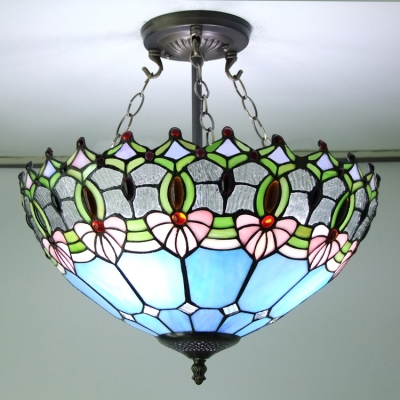 Blue Stained Glass 16 Inch Tiffany 3light Semi Flush