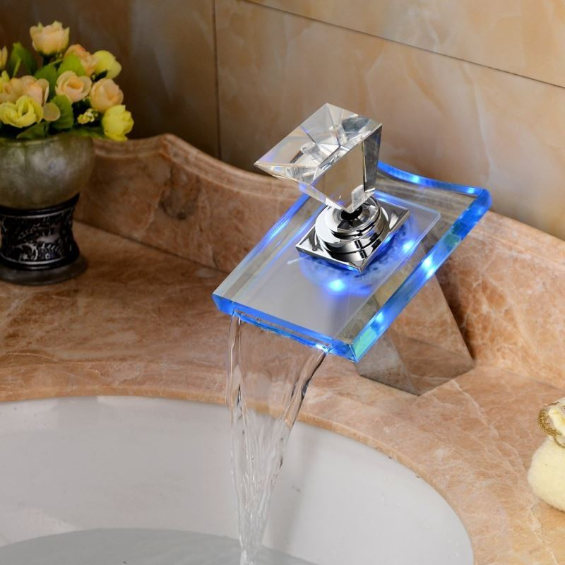 bathroom sink faucets with color changing led waterfall bathroom