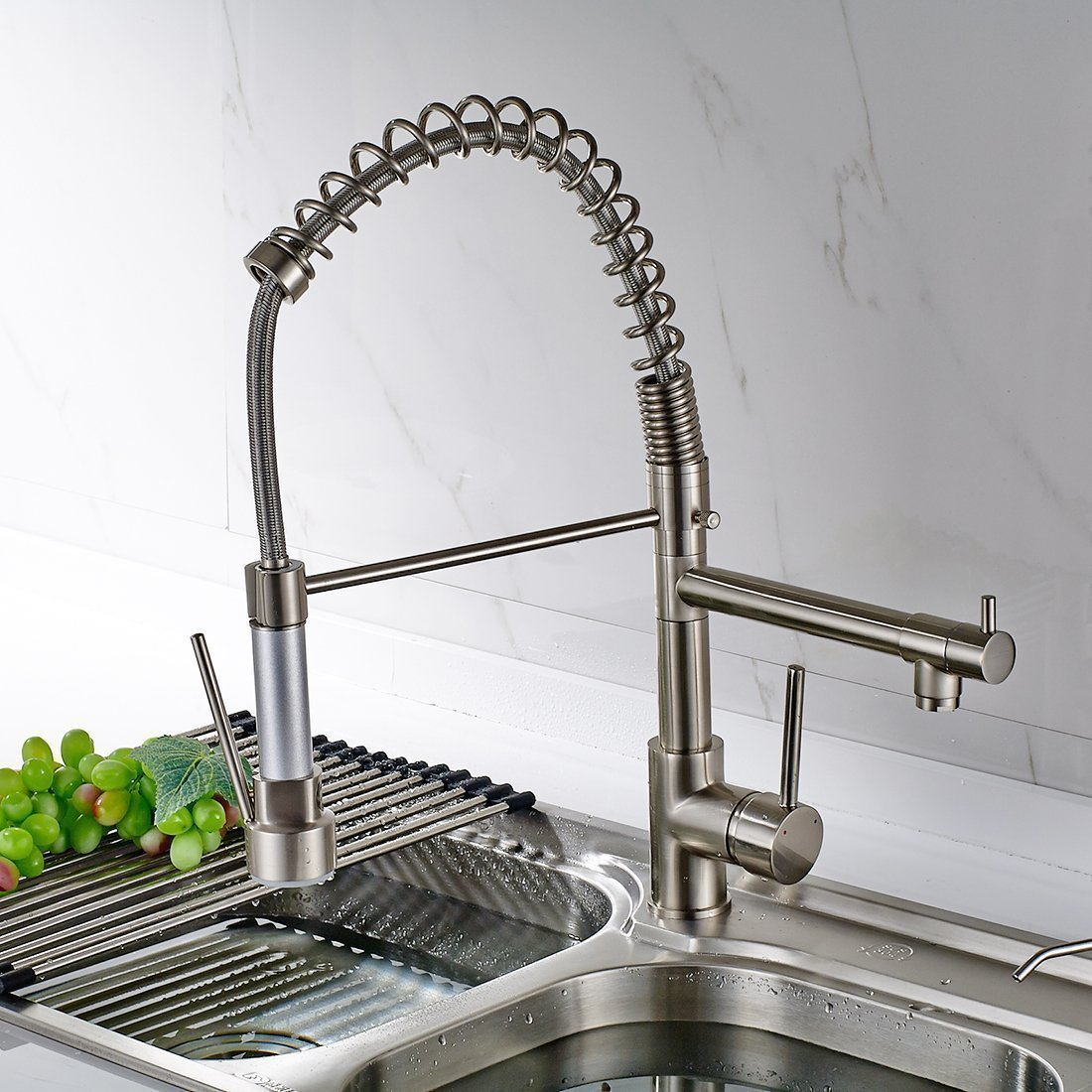 industrial kitchen faucets sticky tiles for floor solid brass spring faucet - polished nickel finish