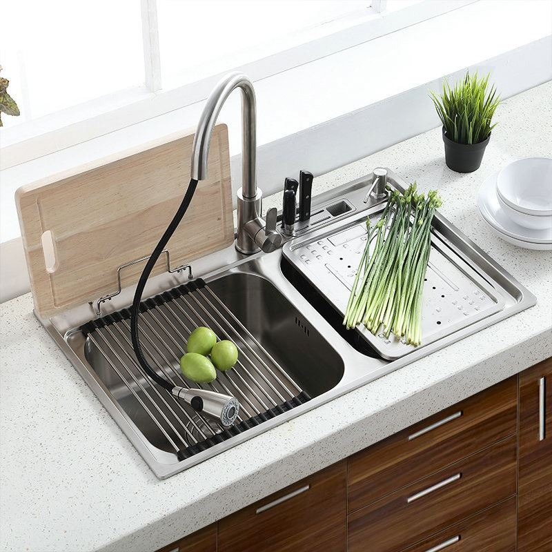 kitchen liquid dispenser skylights modern simple 304 stainless steel sink double bowl ...