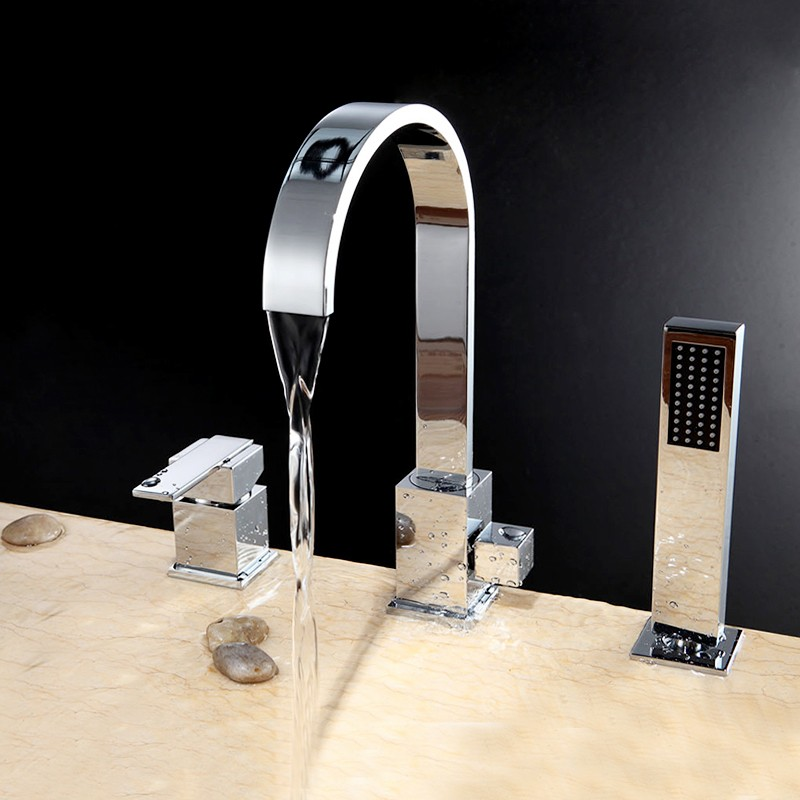 modern chrome tub faucet curved deck mount bathtub tap with hand shower