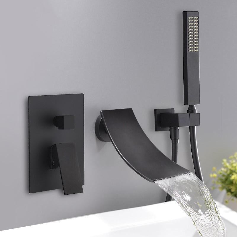 black wall mount waterfall tub faucet elegant bathtub mixer with hand shower chrome black