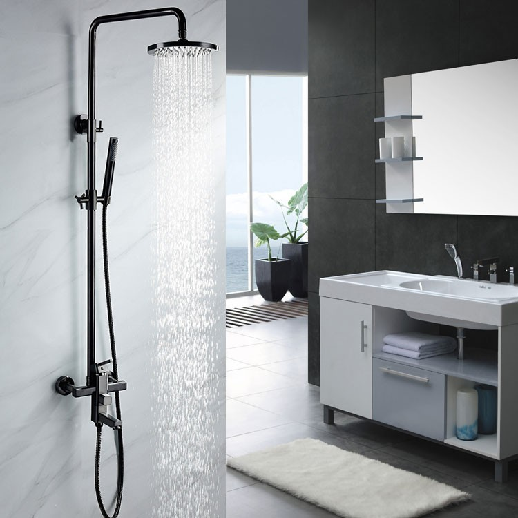 exposed black shower faucet wall mount rain shower system with tub spout