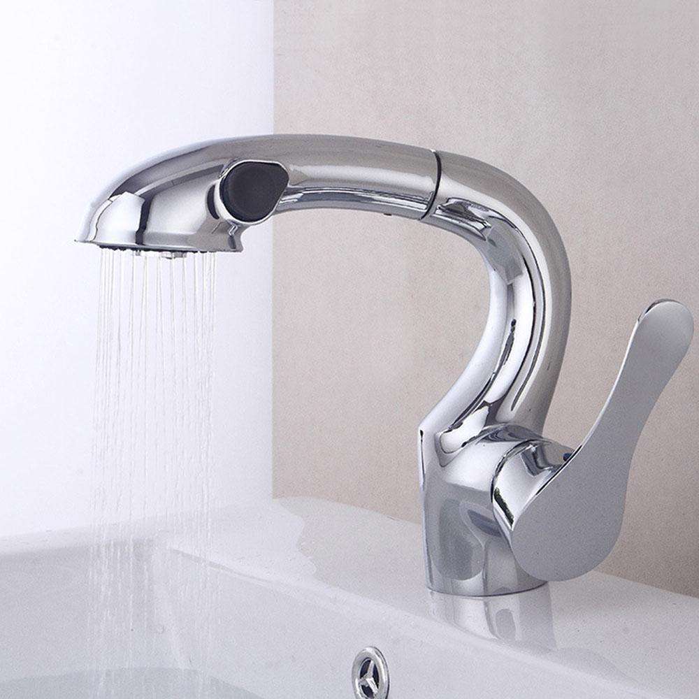 modern chrome bathroom faucet pull down design basin tap