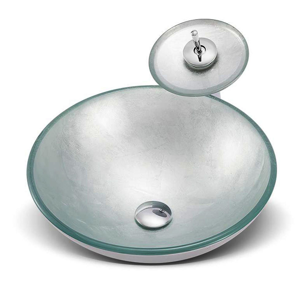 silver tempered glass vessel sink with waterfall faucet pop up drain and mounting ring