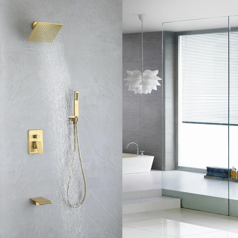 brushed gold shower faucet system