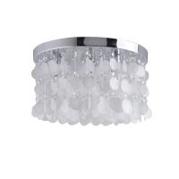 White Shell + Crystal Flush Mount light