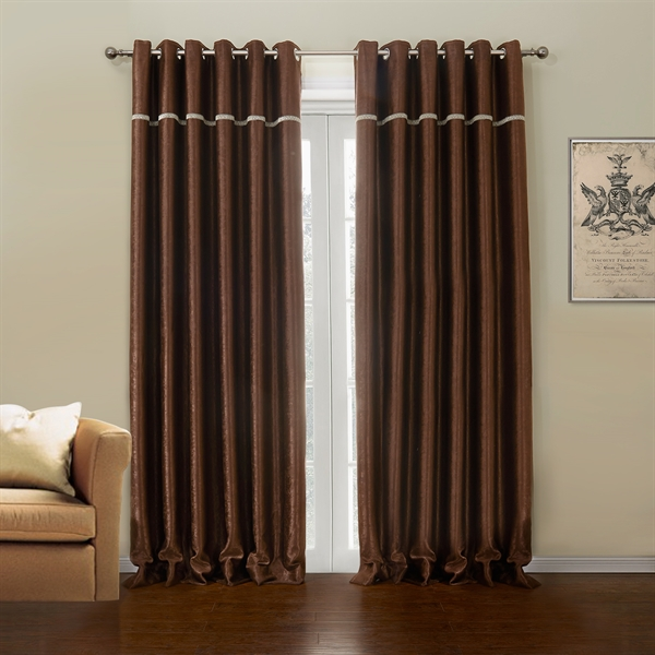 Polyester Blackout Curtian Dark Brown Custom Curtain  633