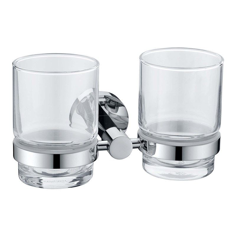 New Modern Chrome Colored Bathroom Accessories Toothbrush Holder Solid Brass Double Tumbler Holder