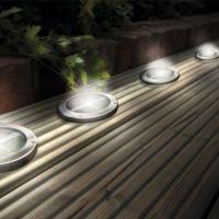 Stainless Steel Solar LED Light Deck Ground Lights(a set
