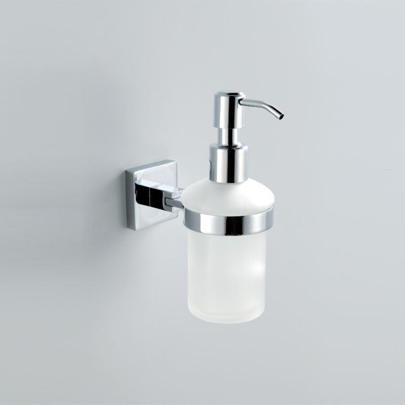 Wall Mounted Glass Soap Dispenser and Holder Chrome Finish Bathroom Liquid Soap Dispenser