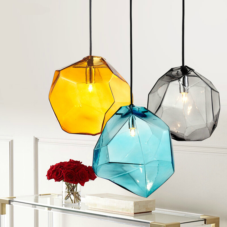 Modern Fashion Colorful Glass Pendant light with 3 lights Dining Room Lighting Ideas Living Room