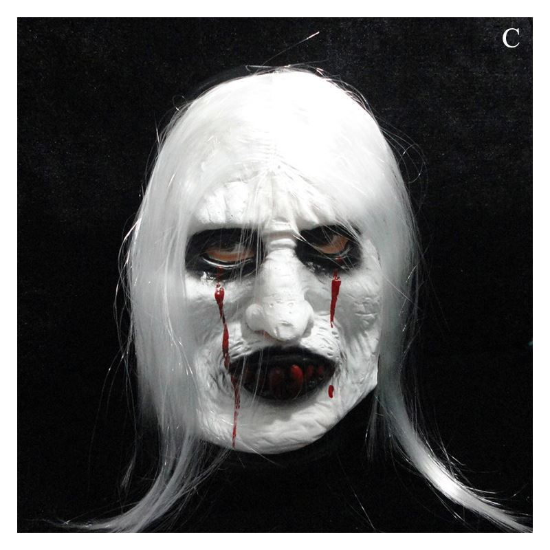 Gifts Halloween Supplies Halloween Ghost Mask With White Hair Trick Toy Head Cover Halloween