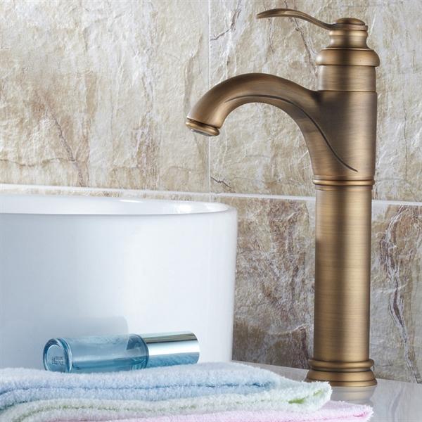 antique brass bathroom vessel sink faucet tall
