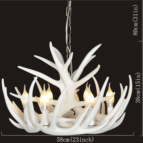 Rustic Cascade Chandelier Antler With 6 Lights White