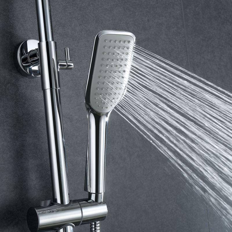 Moderne Duscharmatur Regendusche aus Messing mit Einhebelmischer Silber