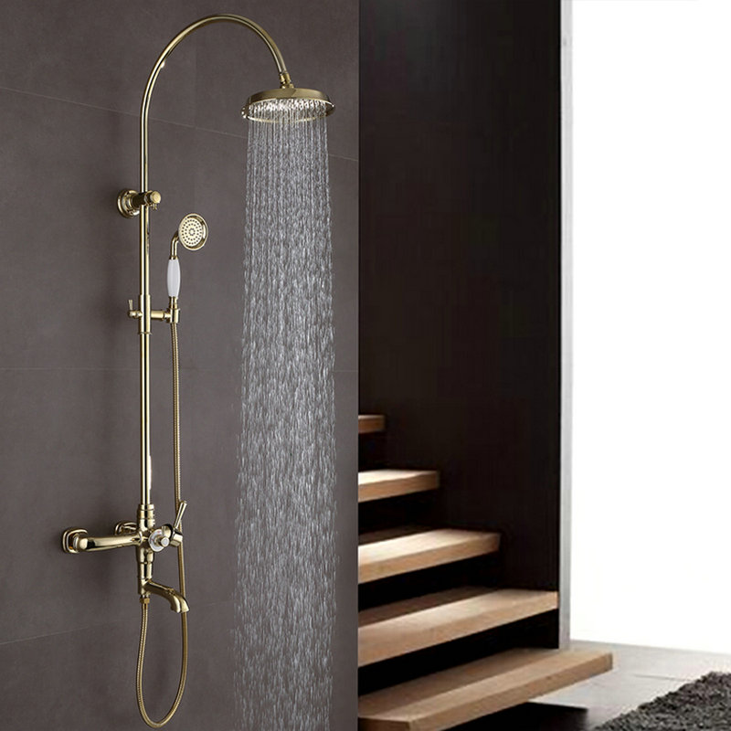 Moderne Duscharmatur Gold Wandmontage Regendusche