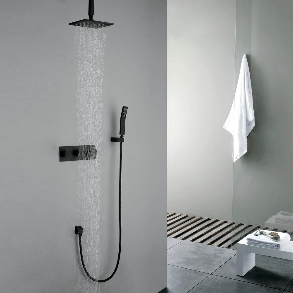 Retro Duschsystem Regenfall Unterputz Wandmontage Schwarz