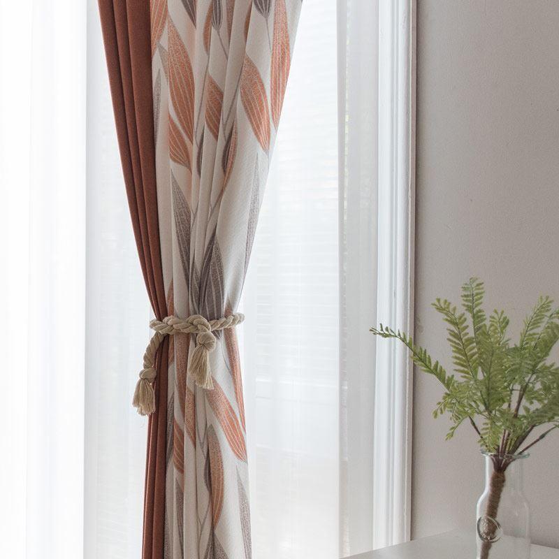 Landhaus Vorhang Farbig Bltter Muster Design im Wohnzimmer