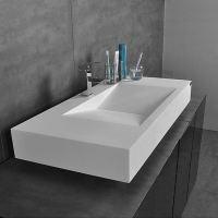 Modern Waschbecken Wandmontage Rechteckig Weiß ohne ...