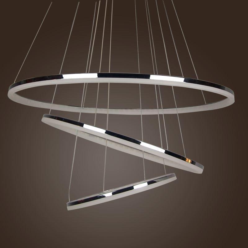 70W LED Modern Acryl Pendelleuchte Zwei Ringe Deckenlampe Kreative Kronleuchter Warmwei Lster