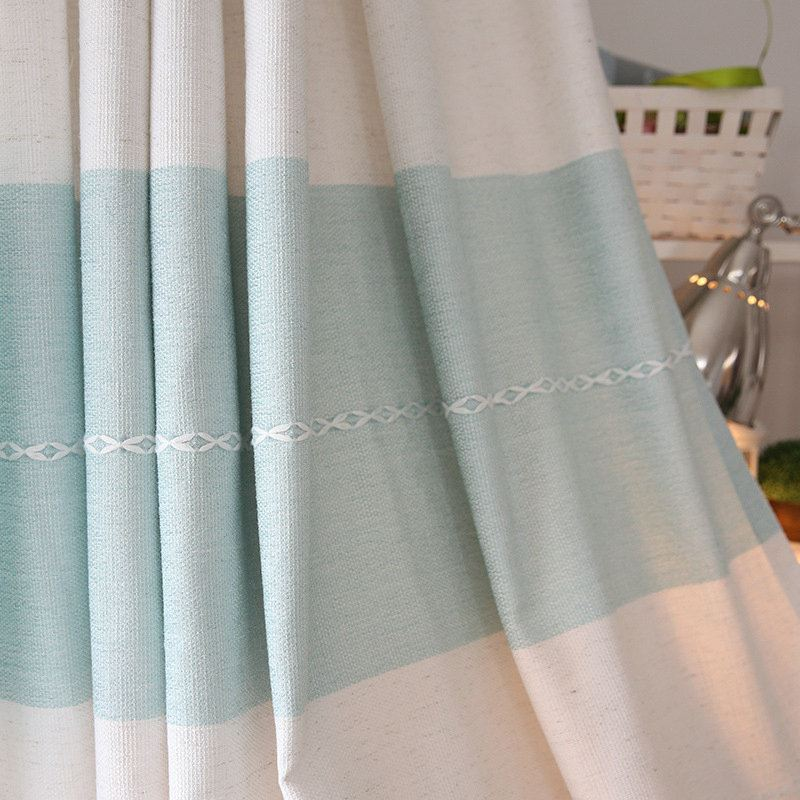 rideau en polyester jacquard bleu blanc verte style de village