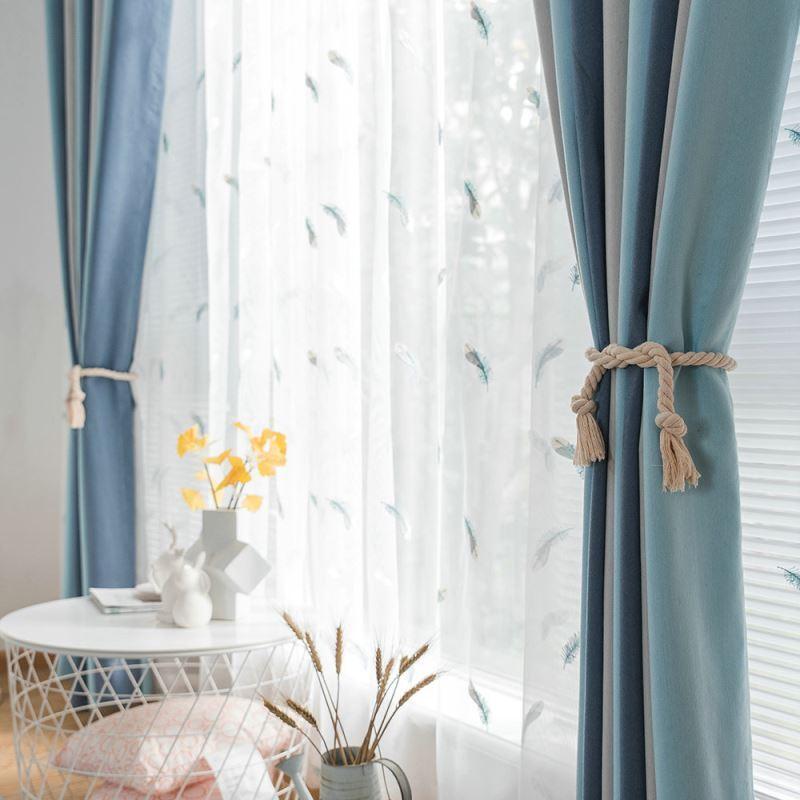 rideau occultant jacquard bleu beige combinaison de couleur pour chambre a coucher salon