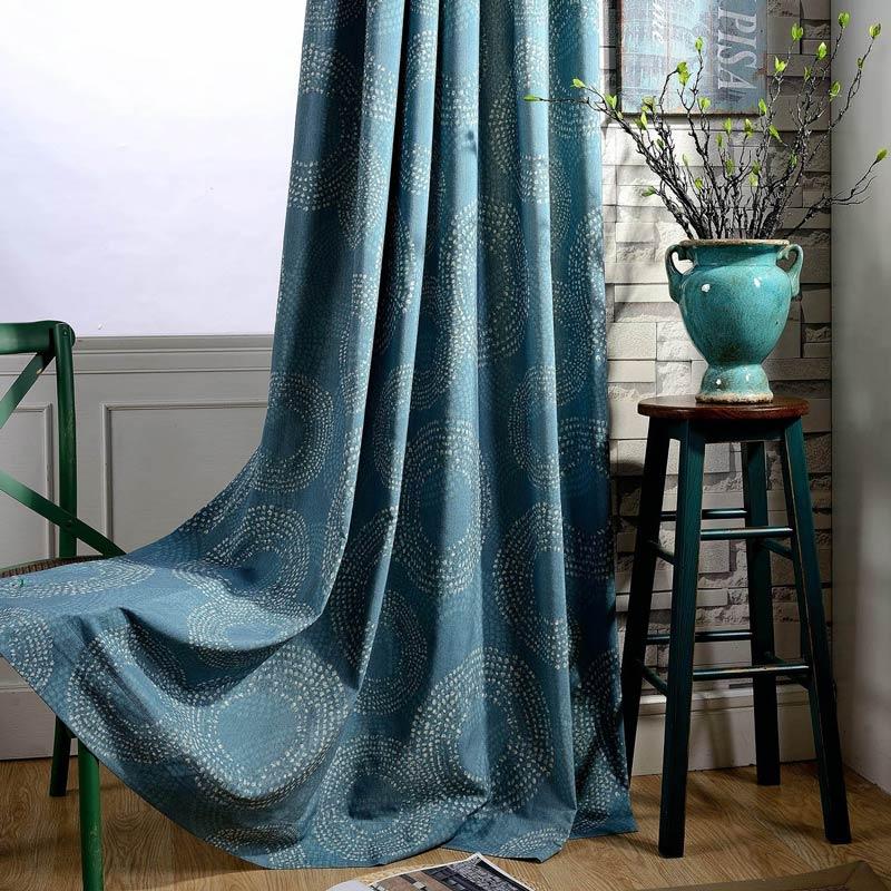 rideau tamisant imprime en coton polyester cercle bleu canard pour chambre a coucher retro americain