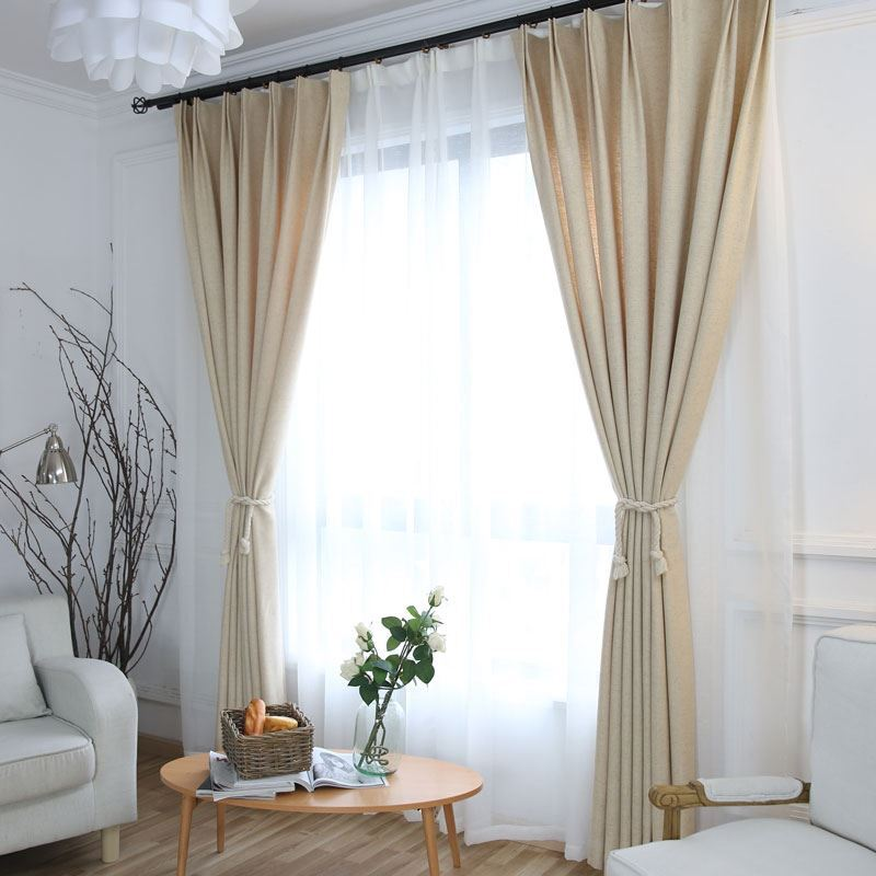 rideau tamisant en coton lin beige pour chambre a coucher simple japonais