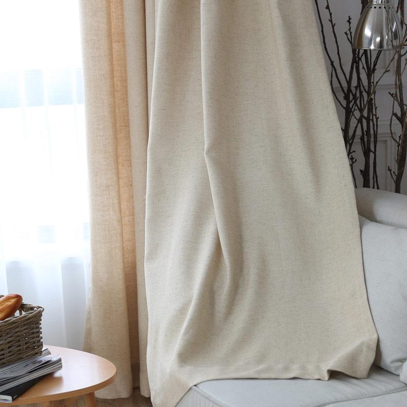 rideau tamisant en coton lin beige pour